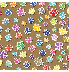 colorful dogs foot prints vector image