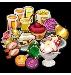 Big set of juices candy desserts vector image