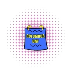 Columbus day calendar icon comics style vector