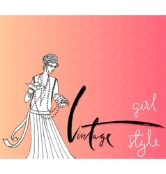 Beautiful fashion woman retro style vintage vector