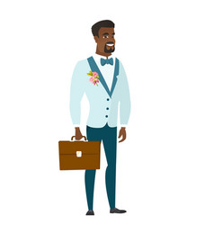 African-american groom holding briefcase vector