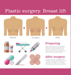 Breast lift plastic surgery vector
