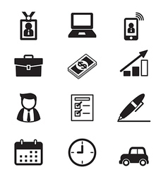 Businessman and office tools icon set vector