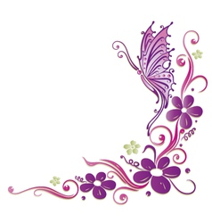 Butterfly flowers vector image vector image
