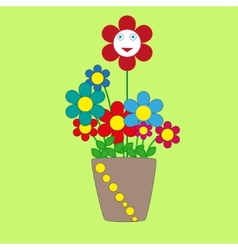 Cute cherful flowers in a pot vector image vector image