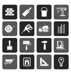 Flat Construction and Building icons vector image vector image