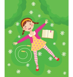 Funny girl relaxing on green grass vector image