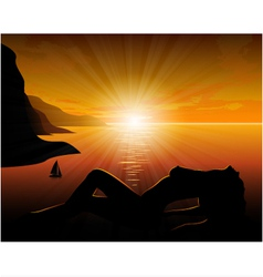 Girl from the sea at sunset vector image vector image
