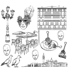 hand drawing set of venice sketch vector image