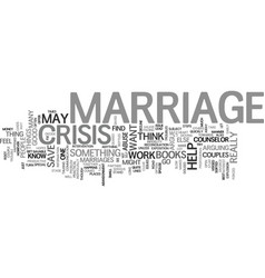 Marriage crisis text background word cloud concept vector