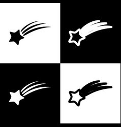 Meteor shower sign black and white icons vector