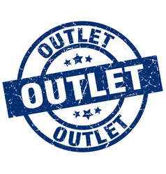 Outlet blue round grunge stamp vector
