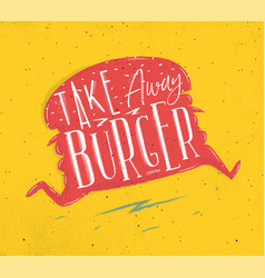 Poster take away burger pink vector