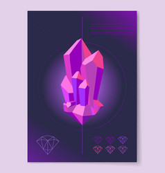 Purple diamond shape on abstract background poster vector