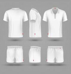 rugby shorts and t shirt white blank man sport vector image vector image