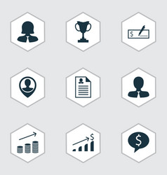 Set of 9 human resources icons includes manager vector