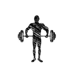 Silhouette drawing man lifting weights vector