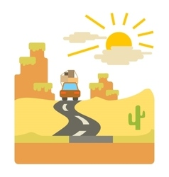 Travel by car in desert concept flat style vector