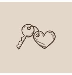 Trinket for keys as heart sketch icon vector image vector image