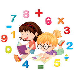 Two girls reading math book vector