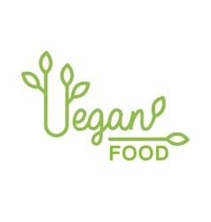Vegan Natural Food Green Logo Design Template WIth vector image