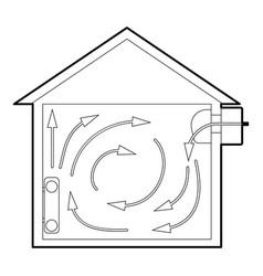 Ventilated home icon outline style vector
