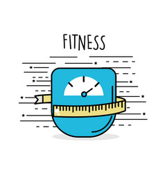 Weight with meter to have healthy life vector