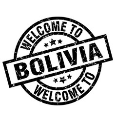 Welcome to bolivia black stamp vector