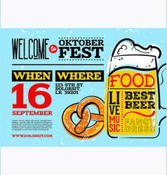 welcome to oktoberfest poster horizontal vector image vector image