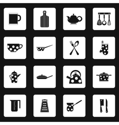 Kitchen utensil icons set simple style vector