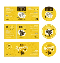 Set of templates label for honey vector