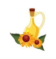 Sunflower seeds oil glass bottle and sunflowers vector