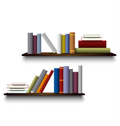 Two shelves on the white wall with different books vector