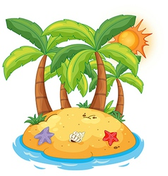 An island with coconut trees vector image