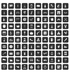 100 alcohol icons set black vector