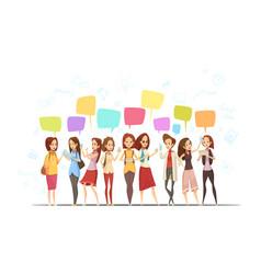 Teenage girls online cartoon poster vector