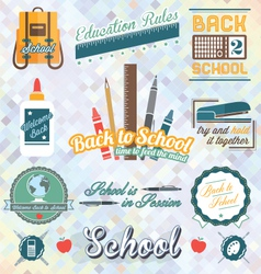 Back to school labels and icons vector