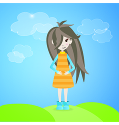 Girl with brown hair outdoor vector