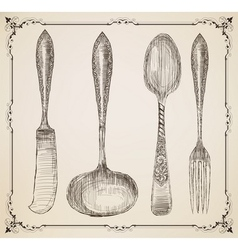 Cutlery doodle style vector image