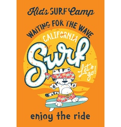 Cute kitten surfing camp vector