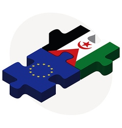 European union and western sahara flags vector