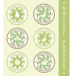 6 labels natural product vector illustration vector