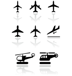 Airplane and helicopter symbol vector