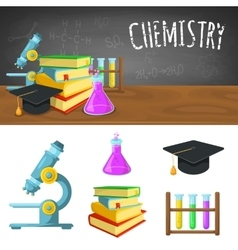Chemistry backdrop and icons vector