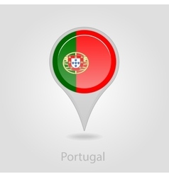 Portugal flag pin map icon vector