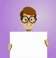 Boy holding a blank form vector