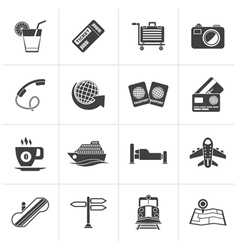 Black travel and vacation icons vector