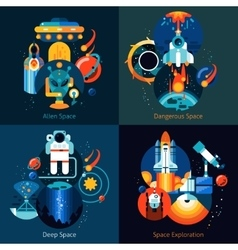 Space flat set vector
