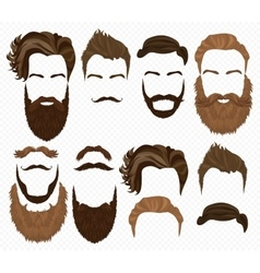 Man hair mustache and beards collection hipster vector