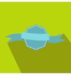 Blue rosette with ribbon icon in flat style vector